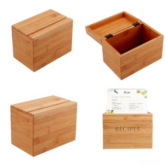 Personalized Bamboo Wood Recipe Box 4X6 Card Holder for Kitchen Storage